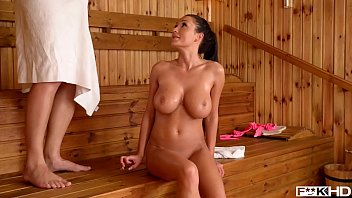 Sauna titty fuck with Patty Michova leads to intense Hardcore pussy banging
