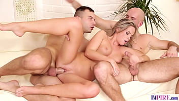 Shaved pussy fucked hard by bi guys