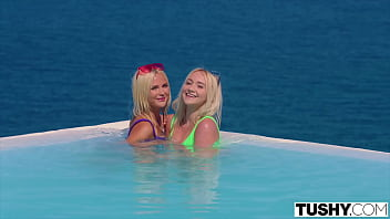 TUSHY Blonde besties experiment with a hot stranger 12 min