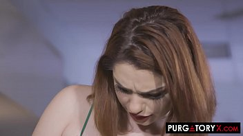 Sexy redhead barber with big natural tits fucked by her client
