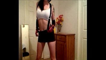 my cosplay as tifa squirting on webcam