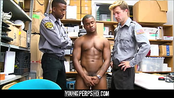 Young Black Straight Guy With Muscles Caught Tagging Threesome Fucked By Black And White Gay Security Officers
