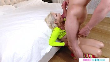 Petite blonde doggystlyed by a big dick