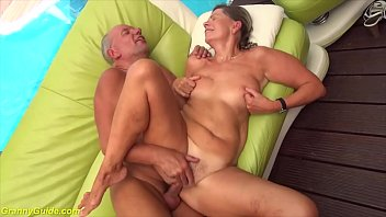 round ass hairy 76 years old mature gets rough fucked by her big cock husband