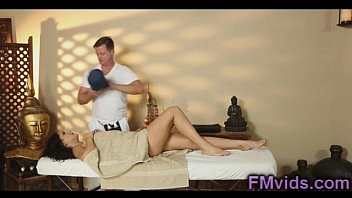 Sexy brunette fucked after massage