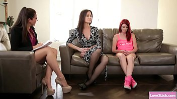 Family counselor licks client and stepmom
