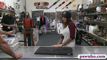 Amateur tattooed brunette woman nailed by pawn keeper 6 min