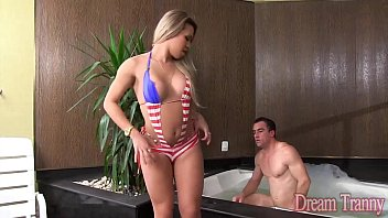 Blonde Shemale Yumme Farias gets a cream pie