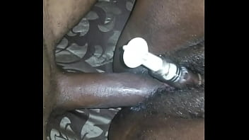 Stroking big breast bbw while she pumps her clit