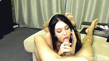 Young brunette sucks cock and makes him cum with tongue