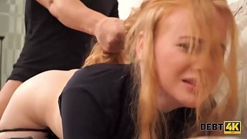 Debt4k. Red-haired chick gets fucked to reach money for the new 4k TV
