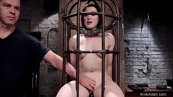 Hairy slave is vibed in cage