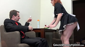 Busty redhead maid joins older couple blowjob before cumshot