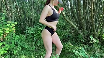 Naked wife KleoModel public fuck and blowjob in the bushes. 8 min