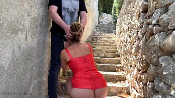 sexy bodycon slut – risky public fuck on stairs in the crowded city center – projectfundiary