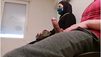 Pervert doctor puts a hidden camera in his waiting room, this muslim slut will be caught red-handed with empty French ball
