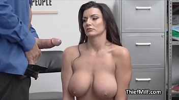 Big tit MILF suspect faces cock time at the storage room
