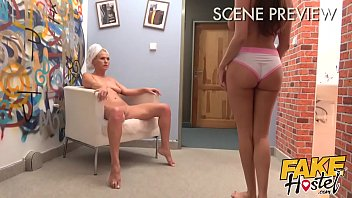 Fake Hostel - French girl with huge natural tits drinks fluid from mature lesbians hot body before getting her sweet plump ass and pussy tongue fucked and tribbing to hot lesbian orgasm starring Anissa Kate and Kathy Anderson