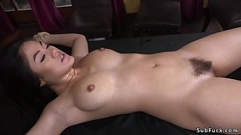 Tied Asian girl vibrated and fucked