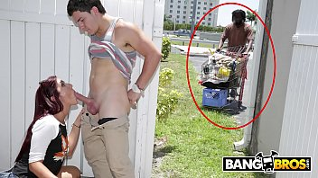 BANGBROS - Sophia Steele Gives Peter Green A Public Blowjob While Bum Walks On By
