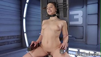 Babe restrained to chair for pussy toying Preview