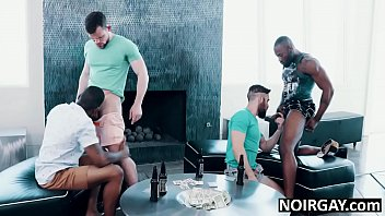 Strip poker turns into bbc gay interracial orgy