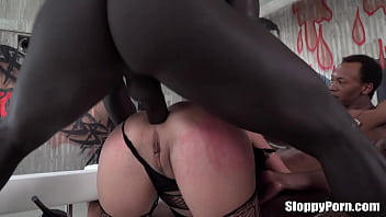 Horny slut Henessy interracial group sex