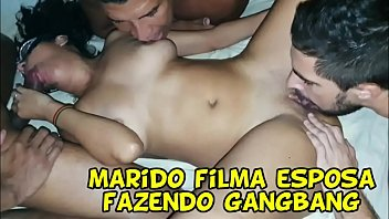 Brazilian sexy hot wife gangbang in front of her cuckold husband and he record it