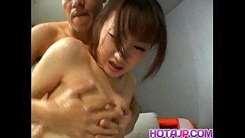 Japanese AV Model with oiled curves is fucked in hairy slit a lot