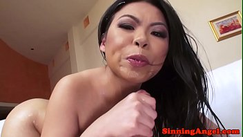 Glamorous asian pounded between blowjobs
