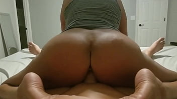 Big Brown Ass Milf Rides Reverse Cowgirl And Cums All Over His White Cock