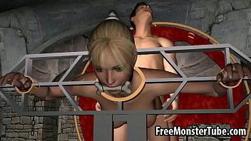 Restrained 3D blonde babe gets fucked by a vampire