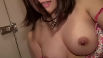 Asian amateur nerd is fingering her pussy in a toilet