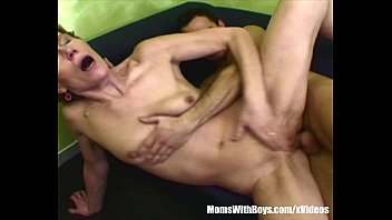 Skinny Granny Old Pussy Clobbered By Young Cock