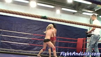 Wrestling lesbians licking wet pussies
