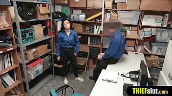 Female security officer gets fucked by her colleague