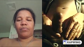 thick  Latin aunt on video call with his friend rubbing her clit after seeing his friends big dick
