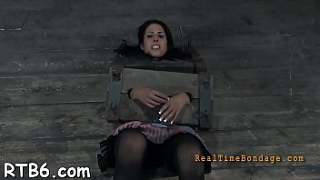 Gagged angel with clamped nipples gets wild enjoyment