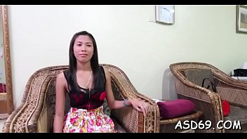 Oriental babe gets pussy caressed