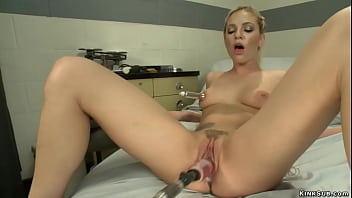 Strapped legs blonde machine fucked
