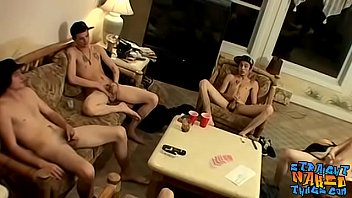 Straight buddies get together for a hot jerk off session