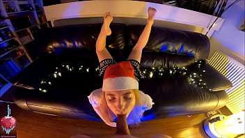 Xmas blowjob with leaking cum out of her mouth and feet in the air plus behind the scenes 14 min