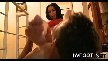Hotty dominates and gets her feet licked and toes sucked