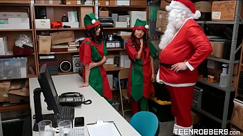Perv Santa Claus Fucking Two Cute Elfs At His Office - Teenrobbers.com