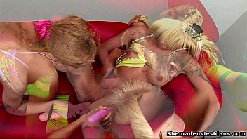 Two blonde russian teens get a lesson of lesbian sex thumbnail