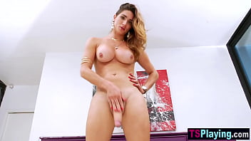Curved Latina shemale slut Adriana Rodrigues plays with her dick in hot lingerie