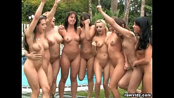 Sexy lesbian parties Group lesbian babes party outdoors