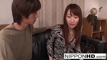 Super cute Japanese babe lets him play with her pussy