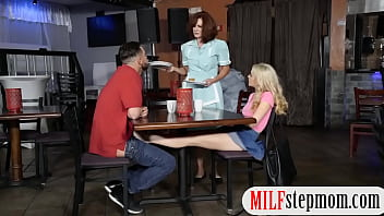 College couple threesome at the diner 6 min