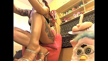 Furby porn Sofi mora playing while a furby is watching